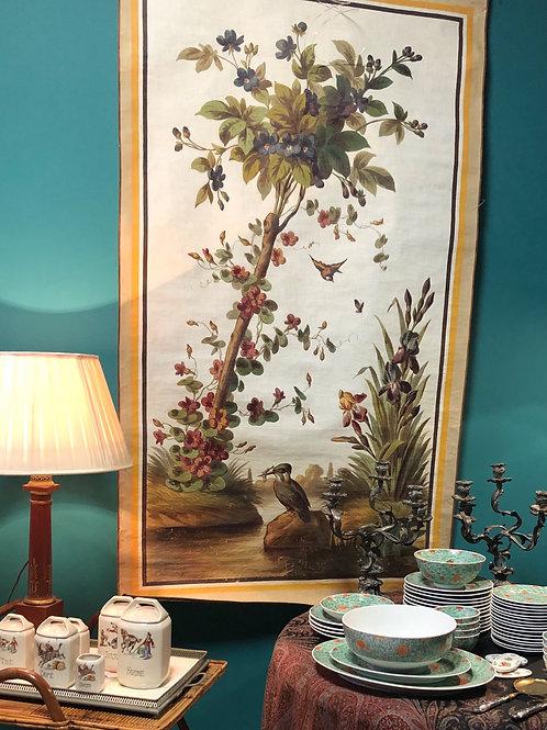 Grande toile peinte avec oiseau