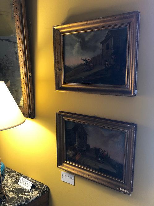 Duo de peintures fixées sous verre