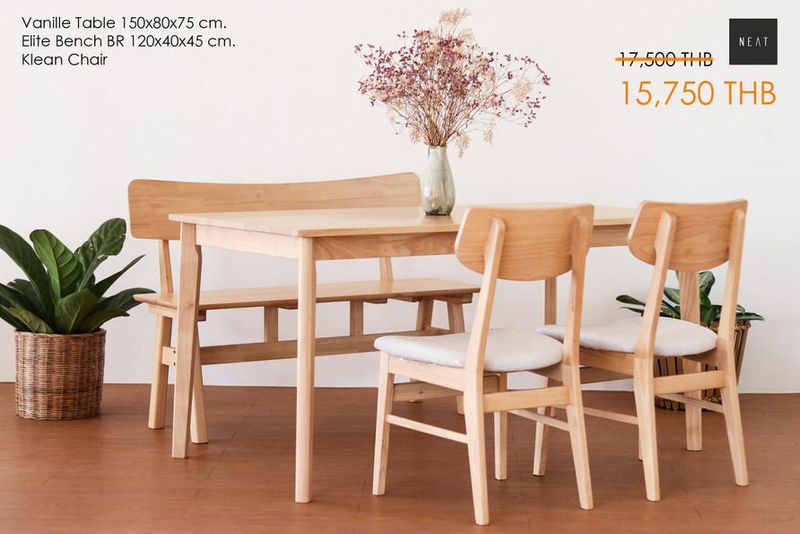 ชุดโต๊ะกินข้าวไม้จริง รุ่น Vanille Table