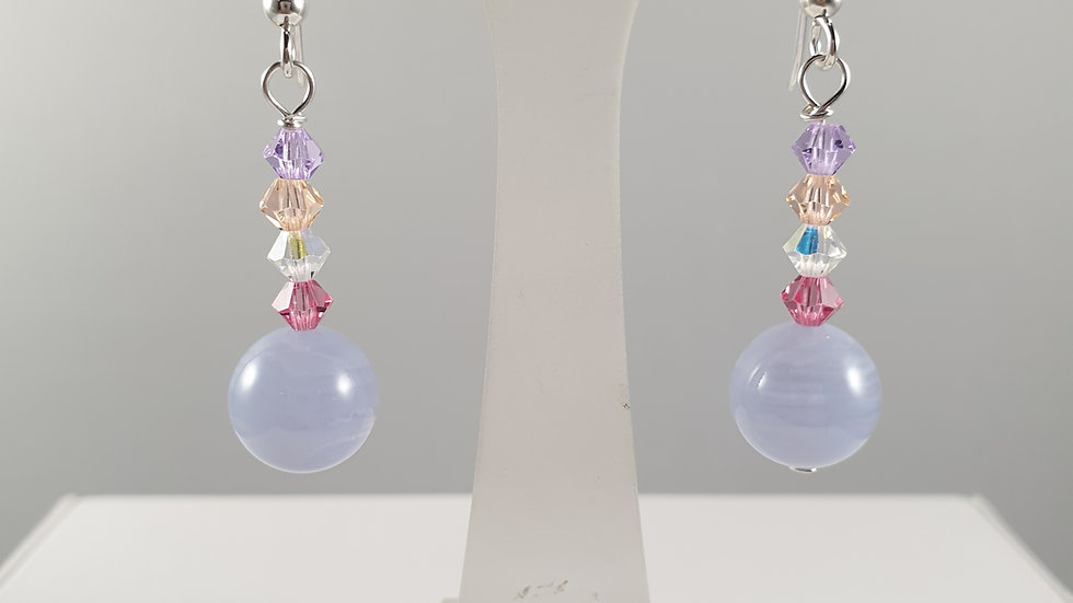 Sterling Silver Earrings Blue Lace Agate and Crystal