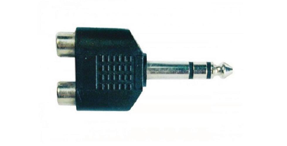Adaptador de RCA Hembra a 1/4 Macho Estéreo