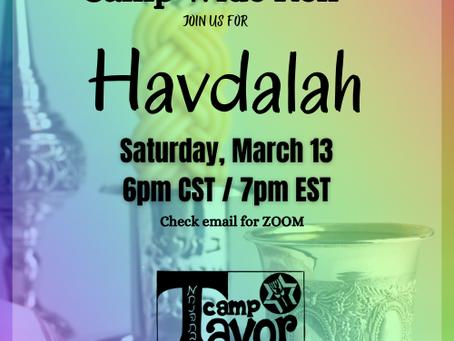 Havdalah with Camp Tavor
