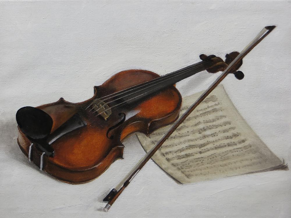 Violin, 2017, 41 x 61cm, oil on canvas