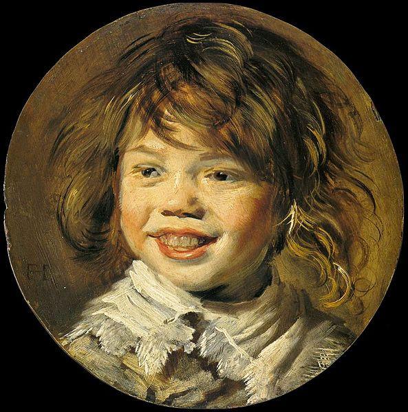Laughing boy, Frans Hals, oil on panel, c. 1620, 30.45cm diameter, Maurtishaus, The Hague, Netherlands