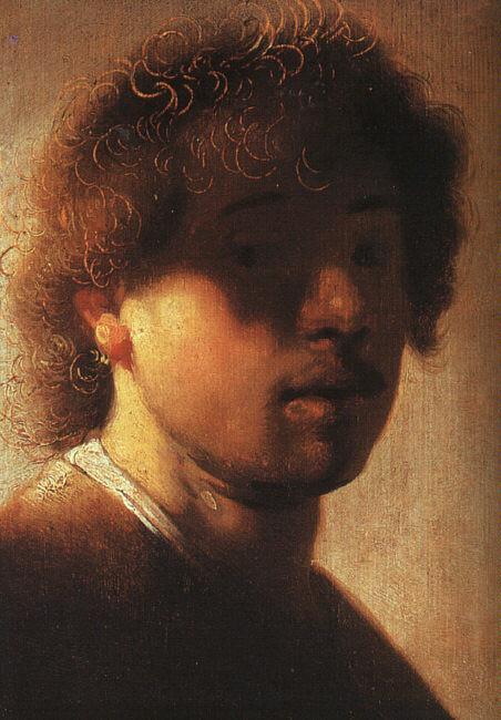 Self-portrait, Rembrandt, oil on oak panel, 23.4 x 17.2cm, c.1628, Gemäldegalerie Alte Meister, Kassel