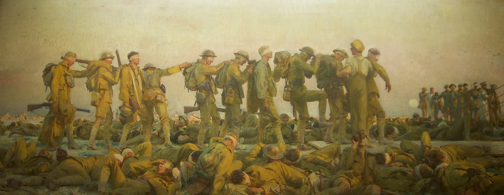 Gassed, Sargent, 1918-19, oil on canvas , 230 x 611cm, Imperial War Museum, London