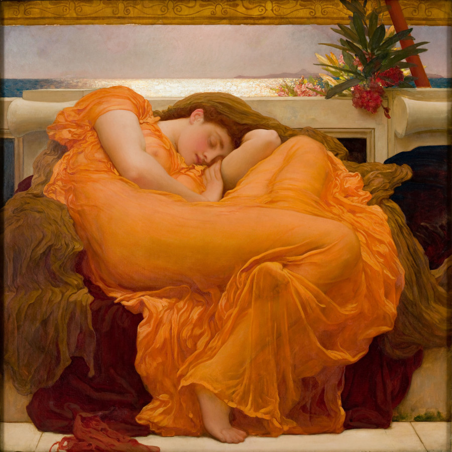 Flaming June, by Frederic, Lord Leighton, oil on canvas, 120 x 120 cm, 1895, Museo de Arte de Ponce, Puerto Rico