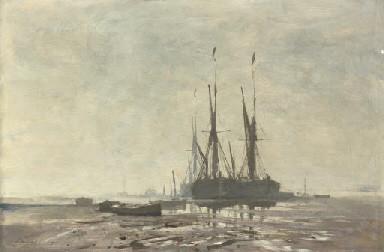 December Morning, Pin Mill, Edward Seago, oil on canvas, 40 x 61cm,