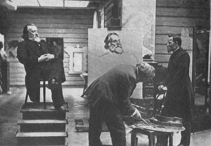 Ilya Repin paints a portrait of N. Kareev