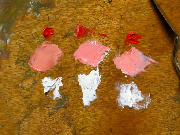 From left to right: Lead, Titanium and Zinc White mixed with Vermilion