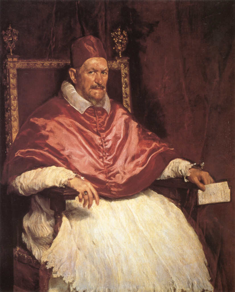 Pope Innocent X by Velazquez, 1650, oil on canvas, 140 x 120cm, Galleria Doria Pamphilj, Rome