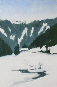 Morgins III, huile sur bois, 30 x 20cm, 2014