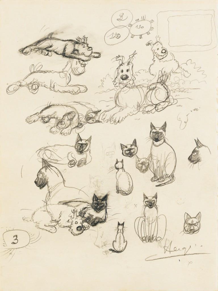 Hergé Georges Rémi dit (1907-1983) Milou et les chats, fin des années 1940