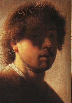 Rembrandt van Rhyn, Self-Portrait as a Young Man, c. 1628, oil on panel, 22. 5 x 18.6 cm, Rijksmuseum, Amsterdam.