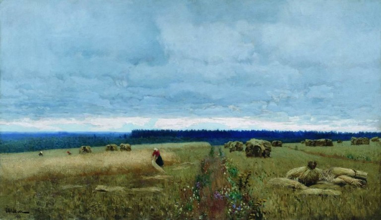A Dull Day, Stubble, Isaac Levitan, oil on canvas