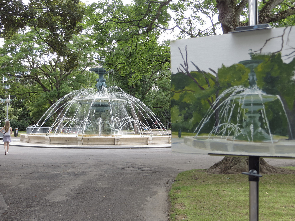 Painting in the jardin anglais in Geneva