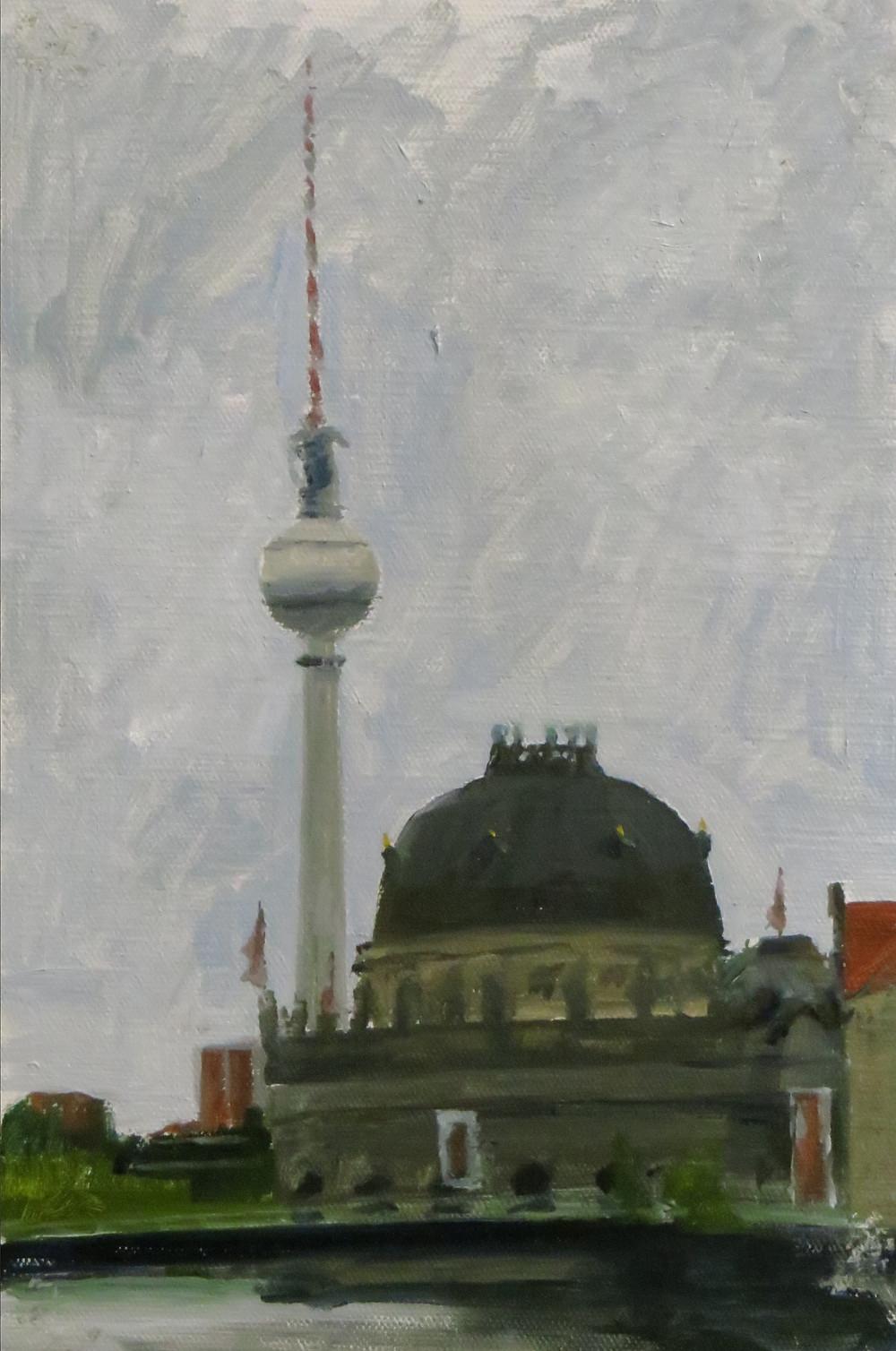 TV Tower, Berlin, 2019 oil on board, 30 x 20cm