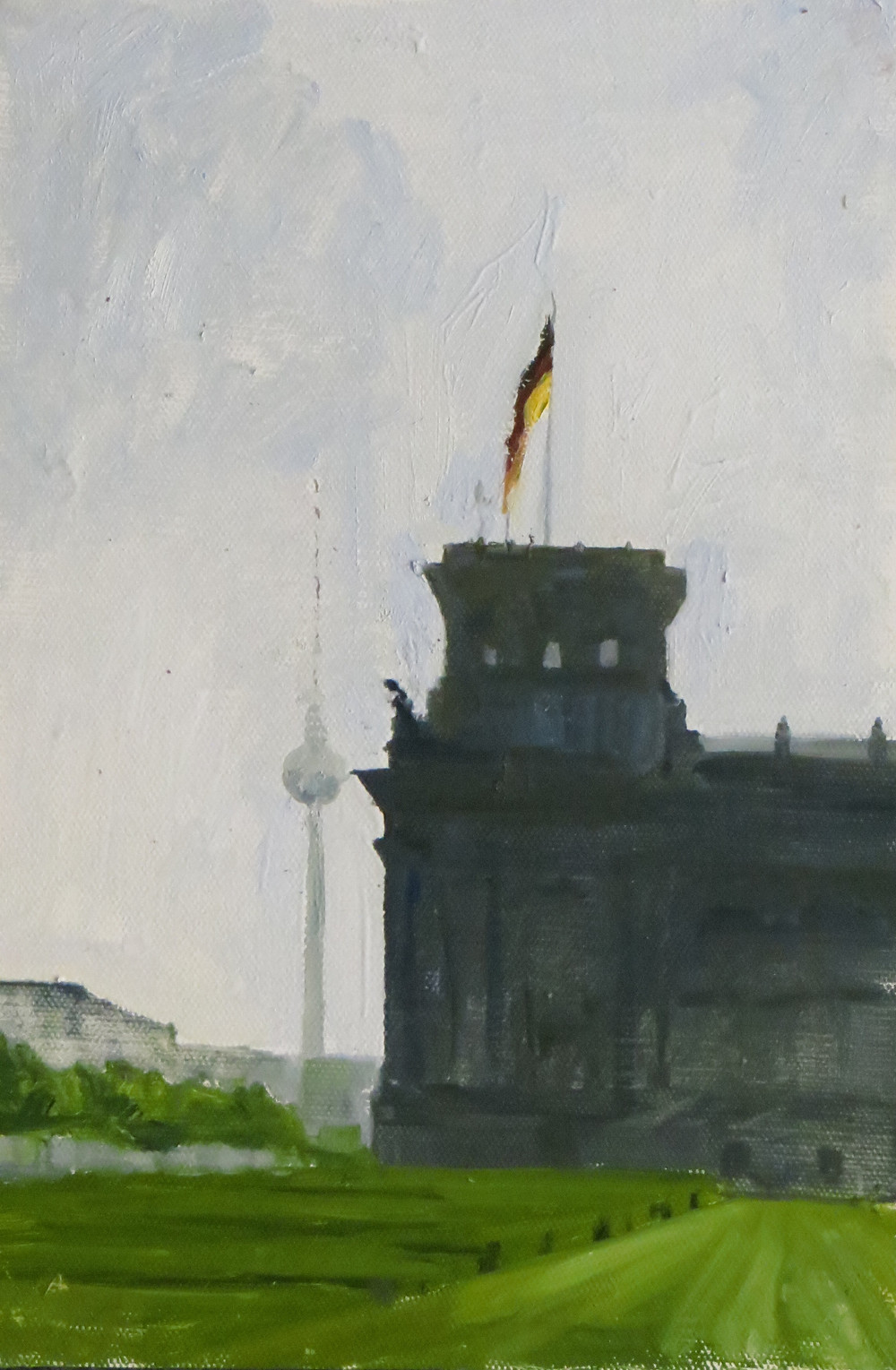 Reichstag, Berlin, 2019, oil on board, 30 x 20cm