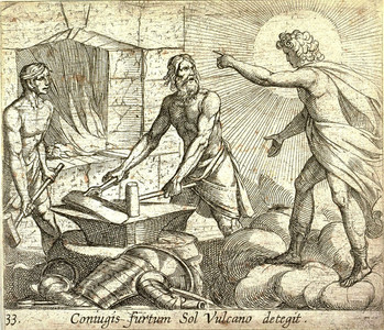 Apollo at Vulcan's Forge, Antonio Tempesta from a copy of Ovid's Metamorphoses printed in Antwerp in 1606