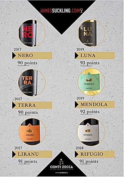 Conti Zecca wines awarded by James Suckl