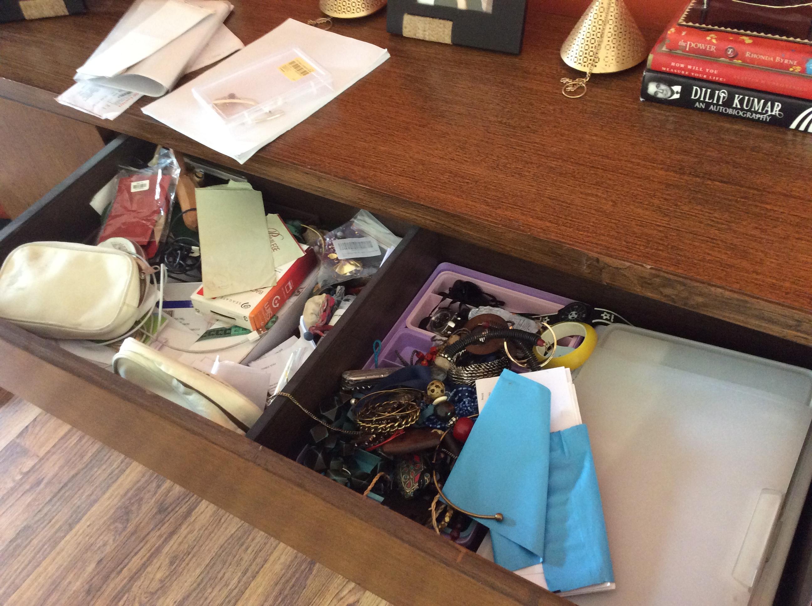 Unorganized Jewelry Drawer