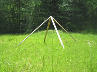 Custom Built Meditation Pyramid in the grass