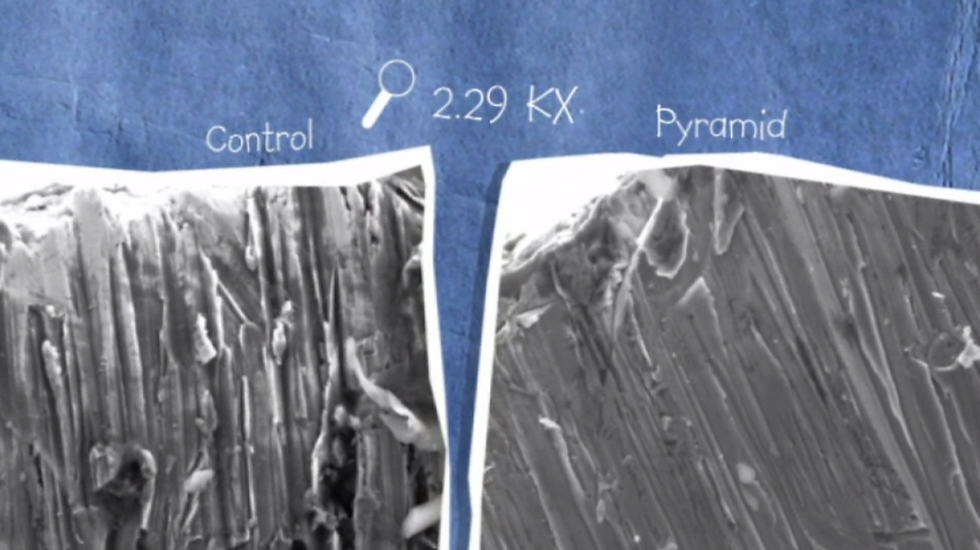 Mythbusters Pyramid Experiment: Electron Microscope images compared: the control is much more jagged.