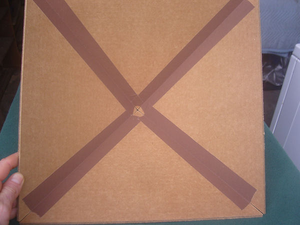 The inside of my Giza Cardboard Pyramid showing the high-quality cloth duct tape holding it together.