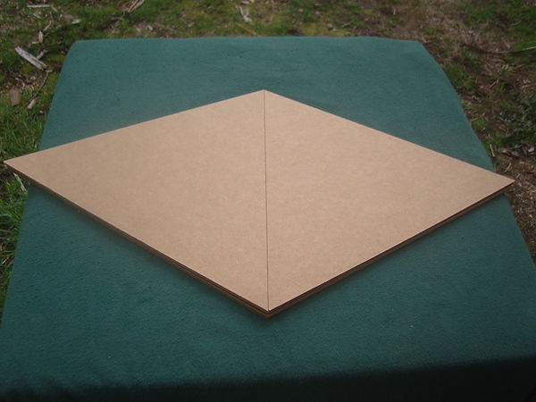 The Giza Cardboard Pyramid when folded up.