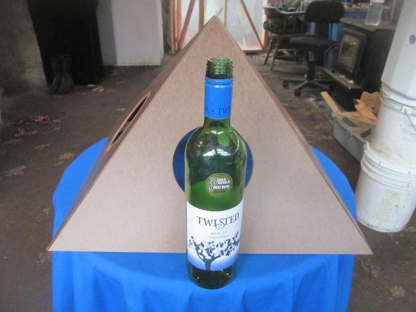 The Giza Cardboard Pyramid when folded up.