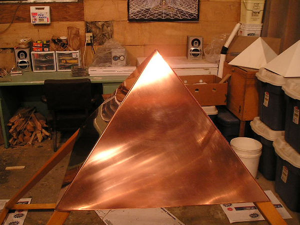 Close up view of The Giza Copper Pyramid Capstone