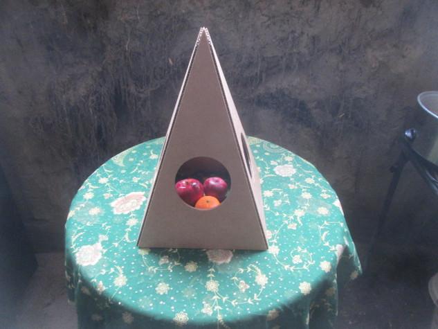 Nubian Cardboard Pyramid with fruit
