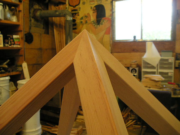 The 2x2 Giza Meditation Pyramid: close up view of the apex