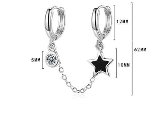 Yıldız ikili gümüş küpe