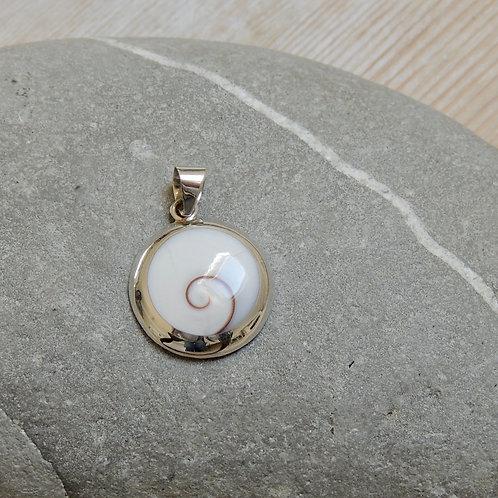Medium Round Shiva Eye Shell Pendant