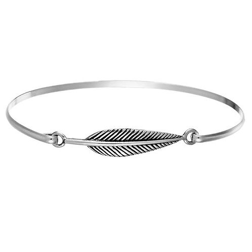 Delicate Silver Feather Bangle