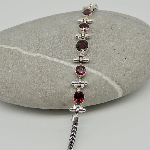 Cut Garnet Stone Silver Bracelet