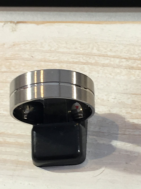 Mens stainless Steel Ring with central groove