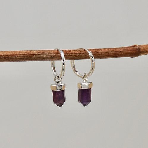 Amethyst Crystal Hoop Earrings