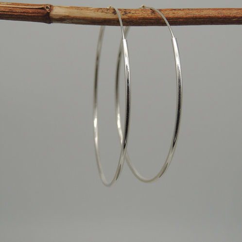 Silver round edge Hoops