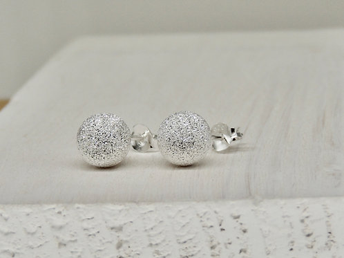 Sparkly Silver Ball Stud Earring