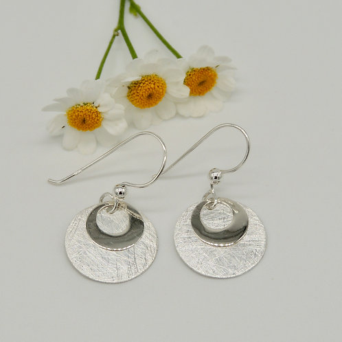Brushed Silver Disc Earring