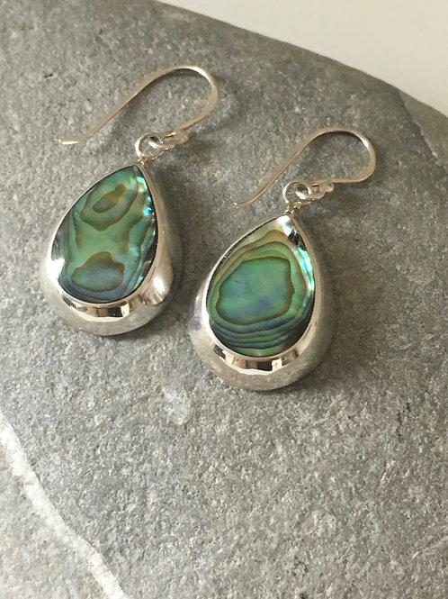 Abalone Shell Inlaid Teardrop Silver Earrings