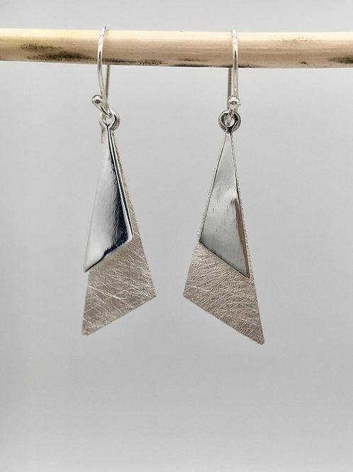 Geometric Brushed Silver Earring