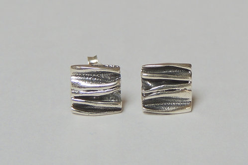 Small Crinkle Silver Stud