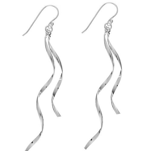 Double dangle spiral silver earrings