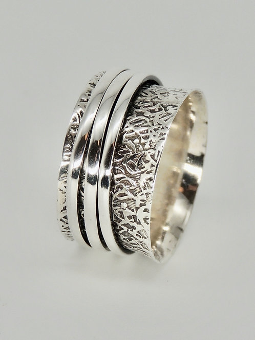 Silver Spinning ring with Triple band