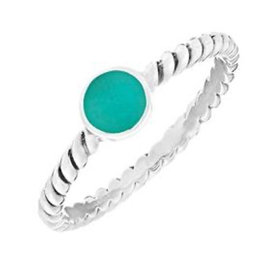 Braided silver ring with coloured stones