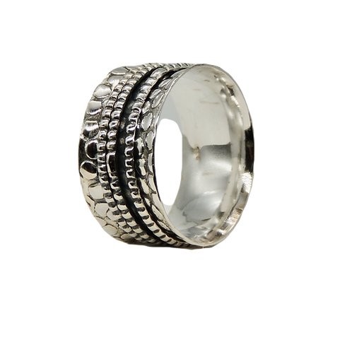 Silver Spinning Ring with a textured finish and triple spinning band