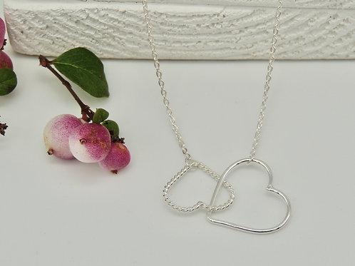 Delicate Double Interlocking Heart  Silver Necklace